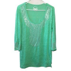 Inc Beach Linen Short Sleeve Green Shirt M